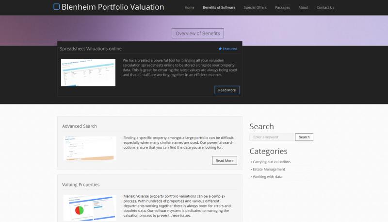 Blenheim Property Portfolio Valuation Software Website